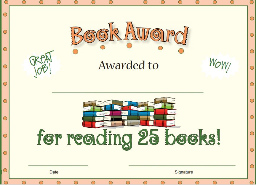 Free printable reading awards free reading award certificates printable reading awards yadclub Choice Image