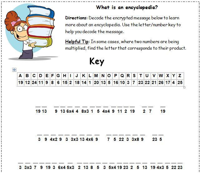 Cryptogram What is an encyclopedia grade 3