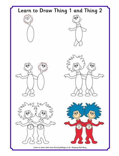 Learn To Draw Thing 1 and Thing 2 Dr. Seuss Characters