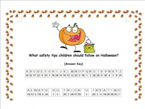 Halloween Safety Tips Cryptogram Answer Key
