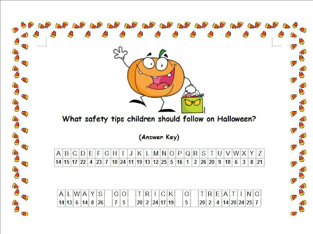 Halloween Safety Tips Cryptogram Puzzle Answer Key